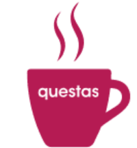 questas steaming coffee cup